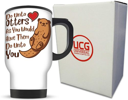 14oz Do Unto Otters Funny Cute Animal Lover Pun Aluminium Travel Mug